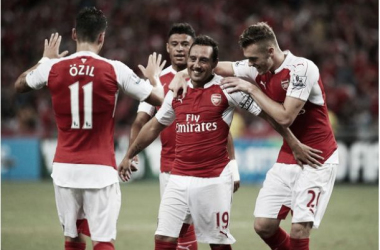 Santi Cazorla captained the side and scored Arsenal's second in a 3-1 win.