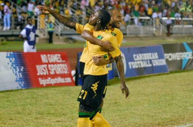 Darren Mattocks (Front) celebrating the surprisingly close 4-3 aggregate victory over Nicaragua in third round. (Photo provided by CONCACAF.)