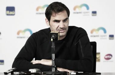 Federer, en rueda de prensa en Miami. Foto: zimbio
