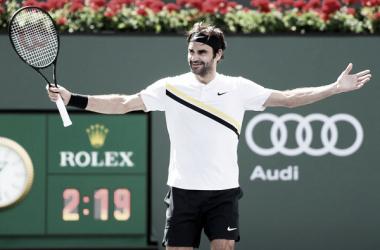 Roger Federer celebra su victoria de hoy ante Coric. Foto: zimbio.com