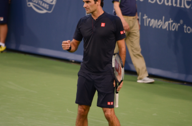 Roger Federer celebrates a point during his bizarre win in the Cincinnati semis. Photo: Noel Alberto/VAVEL USA