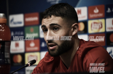 Nabil Fekir en la sala de prensa del Camp Nou   Foto: Noelia Déniz (VAVEL)