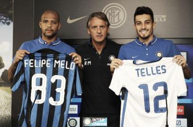 Felipe Melo e Alex Telles são apresentados na Internazionale