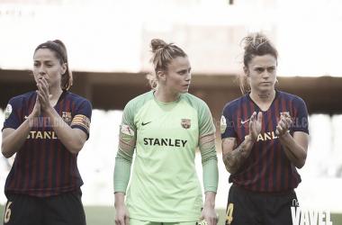 Losada, Paños y Mapi León, jugadoras del Barça. FOTO: Noelia Déniz
