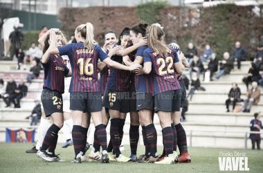 Las azulgranas celebrando un gol ante el Logroño / Foto: Noelia Déniz (VAVEL.com)