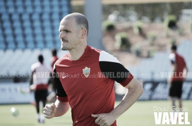 Soriano, durante el entrenamiento del pasado lunes. (FOTO: David García - VAVEL)