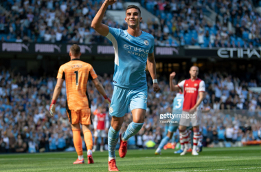 <div>MANCHESTER, ENGLAND - AUGUST 28: Ferran Torres of Manchester City celebrates scoring the second goal during the Premier League match between Manchester City and Arsenal at Etihad Stadium on August 28, 2021 in Manchester, England. (Photo by Visionhaus/Getty Images)</div>