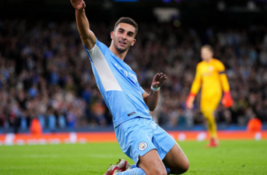 <div>MANCHESTER, ENGLAND - SEPTEMBER 15: Ferran Torres of Manchester City celebrates but his goal is ruled out by VAR for offside during the UEFA Champions League group A match between Manchester City and RB Leipzig at Etihad Stadium on September 15, 2021, in Manchester, England. (Photo by Matt McNulty - Manchester City/Manchester City FC via Getty Images)</div>
