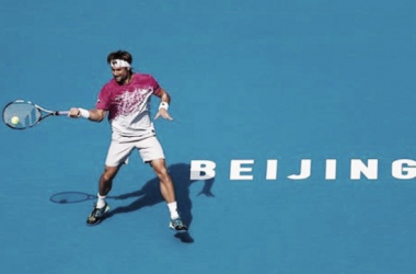 David Ferrer hits a forehand during his first round win. Photo: China Open