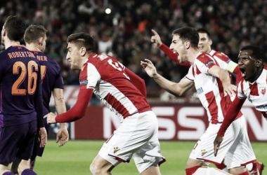 Festejo alocado de los jugadores del Estrella Roja. Foto: UEFA