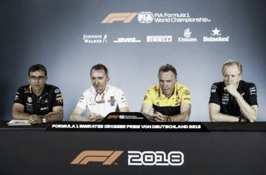 Rueda de prensa de jefes de equipo del Gran Premio de Alemania. Foto: FIA.
