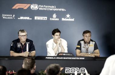 Rueda de prensa del jefes de equipo del Gran Premio de Hungría. Foto: FIA.