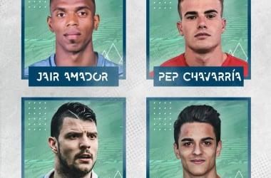 Jair Amador, Pep Chavarría, Haris Vuckic y Sergio Bermejo. Foto: Real Zaragoza.
