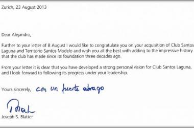 Carta de Joseph Blatter a Alejandro Irarragorri