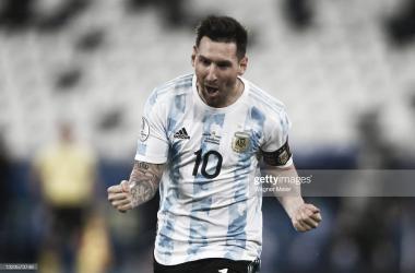 Festejo de Lionel Messi en el 1-0