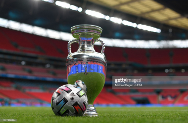 <div><div>LONDON, ENGLAND - JULY 9: A general view inside the stadium where a view of The Henri Delaunay Trophy is seen alongside the Adidas UNIFORIA FINALE match ball ahead of the UEFA Euro 2020 Championship Final between Italy and England at Wembley Stadium on July 9, 2021 in London, England. (Photo by Michael Regan - UEFA/UEFA via Getty Images)</div></div>