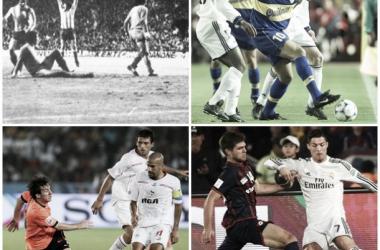 Independiente, Boca, Estudiantes y San Lorenzo ya jugaron finales mundiales contra elencos españoles (Fotomontaje).