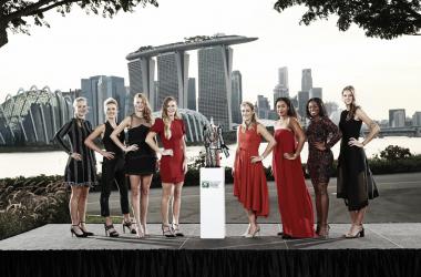 Bertens, Svitolina, Kvitova, Wozniacki (atual campeã), Kerber, Osaka, Stephens e Pliskova compõem a chave deste ano em Singapura (Foto: Divulgação/WTA)