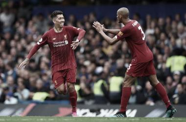 Firmino celebra su gol con Fabinho / Foto: Premier League