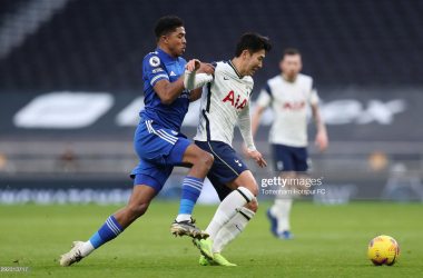 Heung-Min Son of Tottenham Hotspur in action during the Premier League match between Tottenham Hotspur and Leicester City at Tottenham Hotspur Stadium on December 20, 2020, in London, England. (Photo by Tottenham Hotspur FC/Tottenham Hotspur FC via Getty Images)