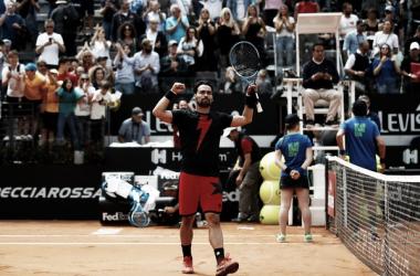 Fognini, celebrando la victoria en Roma. Foto: zimbio