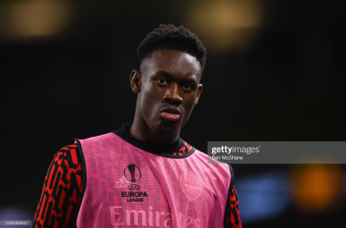 Dublin , Ireland - 10 December 2020; Folarin Balogun of Arsenal during the UEFA Europa League Group B match between Dundalk and Arsenal at the Aviva Stadium in Dublin. (Photo By Ben McShane/Sportsfile via Getty Images)