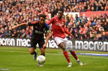 Alfa Semedo (8) of Nottingham Forest battles with Adros Towsend (10) of Crystal Palace during the Pre-season Friendly match between Nottingham Forest and Crystal Palace at the City Ground, Nottingham on Friday 19th July 2019. (Photo by Jon Hobley/MI News/NurPhoto via Getty Images)