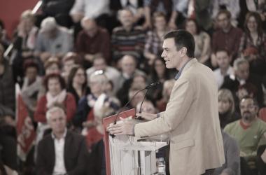 Pedro Sánchez durante un mitin en la campaña electoral. Fuente: Cuenta oficial de Instagram (@psoe).