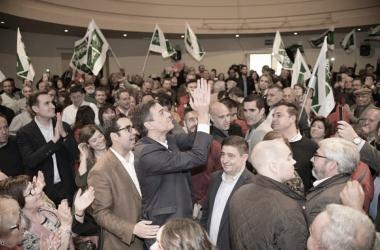 El candidato del PSOE, Pedro Sánchez, durante un acto de la campaña electoral. Fuente: Cuenta oficial de Facebook del PSOE (@psoe).