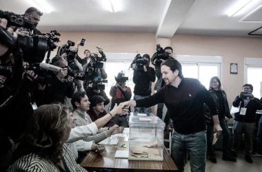 Pablo iglesias durante el pasado 28-A. Fuente: Cuenta oficial de Facebook de Podemos (@ahorapodemos).