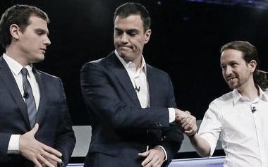 Rivera, Sánchez e Iglesias, los posibles aliados para un nuevo Gobierno. Fuente: Pinterest.