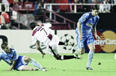 Jesús Navas en el último Sevilla-Slavia   Foto: Sevilla FC