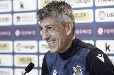 Imanol Alguacil en rueda de prensa/Fuente: Real Sociedad Twitter