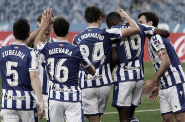 Los jugadores de la Real Sociedad celebrando un gol/Fuente: Real Sociedad Twitter