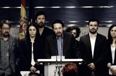 Unidos Podemos anunciando la moción de censura. Foto de: google.com