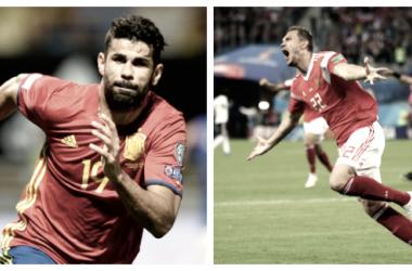 Diego Costa y Dzyuba en un partido con sus selecciones. / Fuente: FIFA.