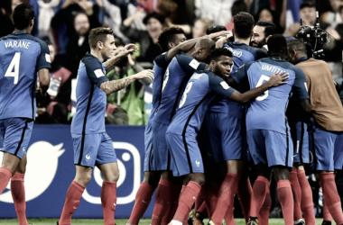 Francia celebrando su victoria contra Bielorrusia / Fuente: Selección Francesa
