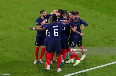 Paul Pogba of France celebrating with his teammates during the UEFA Euro 2020 match between France and Germany at Allianz Arena on June 15, 2021 in Munich, Germany (Photo by Andre Weening/BSR Agency/Getty Images)