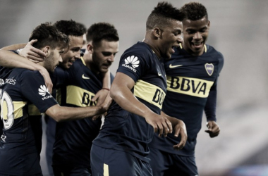 Fabra festeja el único gol que convirtió en la Superliga. Foto: ComuTricolor.