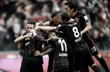 Hosts celebrating goal against rivals. | Photo: Eintracht Frankfurt