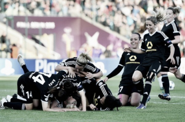 1 FFC Frankfurt players celebrate following their triumph in last year's final. Will there be a repeat? (Source: Sport 1)
