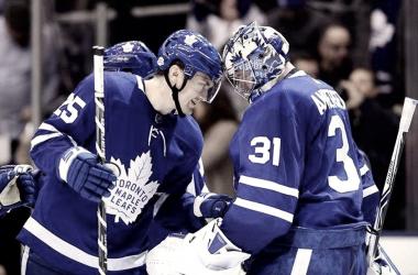James van Riemsdyk Frederik Anderson Toronto Maple Leafs (Photo courtesy of Globe and Mail).