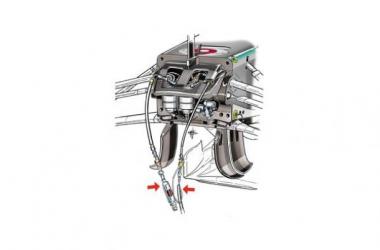 Esquema do sistema FRIC na frente dos Mercedes (Desenho: Giorgio Piola).