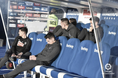 Imagen del banquillo de la SD Eibar el pasado fin de semana en Butarque (FOTO://LaLiga)