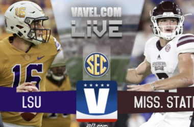 Danny Etling (LSU) and Nick Fitzgearald throw a pass in the 2016 Mississippi State vs. LSU game in Baton Rouge/Graphic courtesy Alan Nunez/VAVEL USA