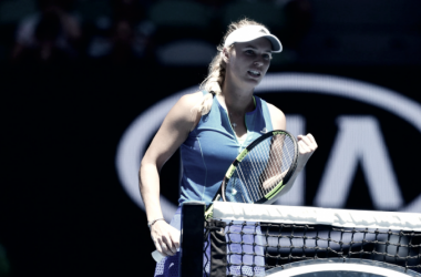 Caroline Wozniacki celebrates after winning her second round match against Donna Vekic at the Australian Open. (Photo: Ben Solomon/Tennis Australia)