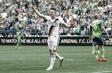 Robbie Keane celebrating his sixth goal of the season on Saturday against the Seattle Sounders FC at CenturyLink Field. Photo provided by Joe Nicholson-USA TODAY Sports.