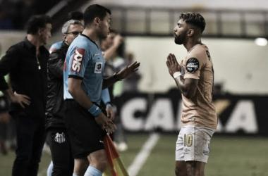 Gabigol no jogo contra o Botafogo - RJ, nessa quarta. Foto: Ivan Storti / Santos FC
