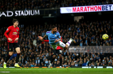 <div>Manchester City v Manchester United - Premier League</div><div>MANCHESTER, ENGLAND - DECEMBER 07: Gabriel Jesus of Manchester City heads the ball towards the goal during the Premier League match between Manchester City and Manchester United at Etihad Stadium on December 07, 2019 in Manchester, United Kingdom. (Photo by Chloe Knott - Danehouse/Getty Images)</div>