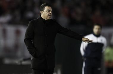 El Muñeco tocó muchos temas en la conferencia además del partido: sanción a Borré, posible cruce con Boca en octavos, la vuelta de Lollo. FOTO: Prensa River